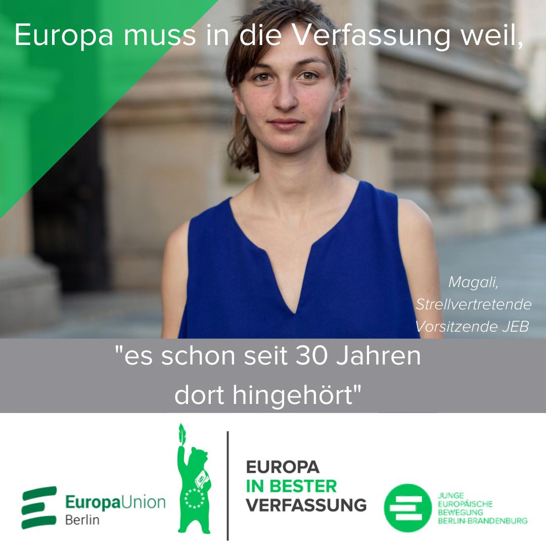 Share-Pic Magali Hübers, stv. Landesvorsitzender der Jungen Europäischen Bewegung Berlin-Brandenburg